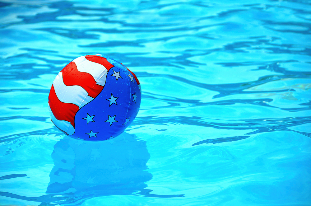 Pool with American Flag Float Ball